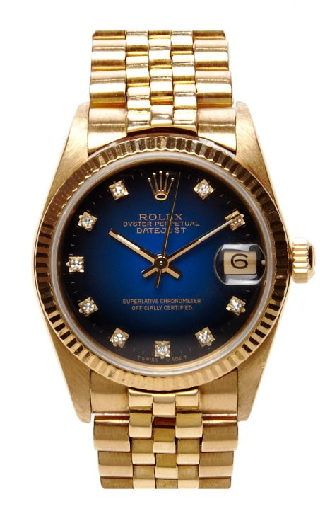 Shop Rolex Oyster Perpetual Datejust With Blue Vignette Diamond Dial By Cmt Fine Watch And Jewelry Advisors Now Vintage Watches Gold Rolex Rolex Diamond Watch