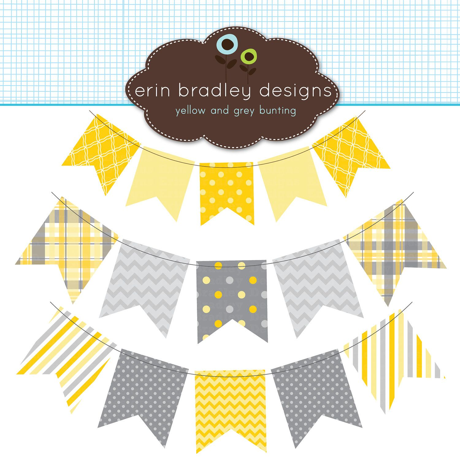Yellow And Gray Bunting Banner Flags Clipart Clip Art For