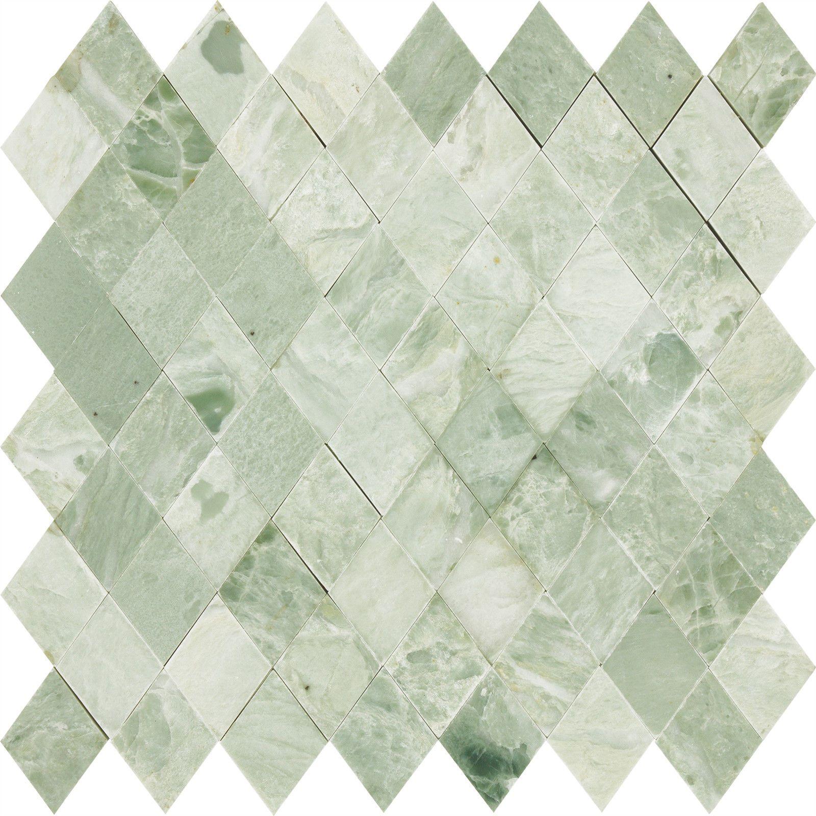 Green Stone Tile Bathroom Diamond Mint Green Polished Marble Stone Mosaic Tile Ebay Tegels