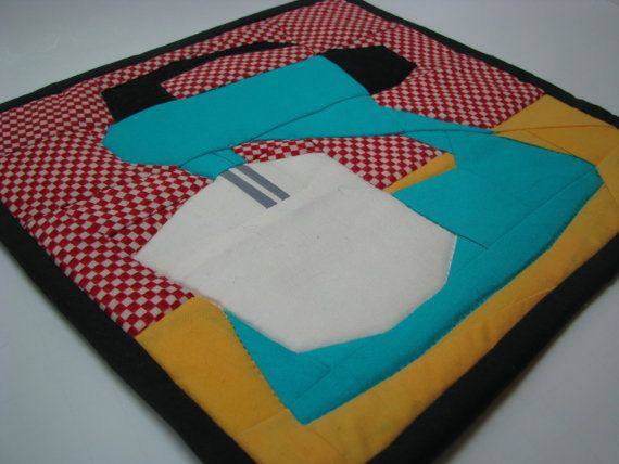 Retro KitchenVintage Kitchen Themed Quilted Hot Pad by KnottingThreads, $12.99