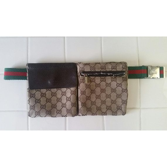 16334925b979 Vintage RARE Gucci Fanny Pack Belt Bag Bum Bag Crossbody Purse Leather  Authentic Monogram GG Made