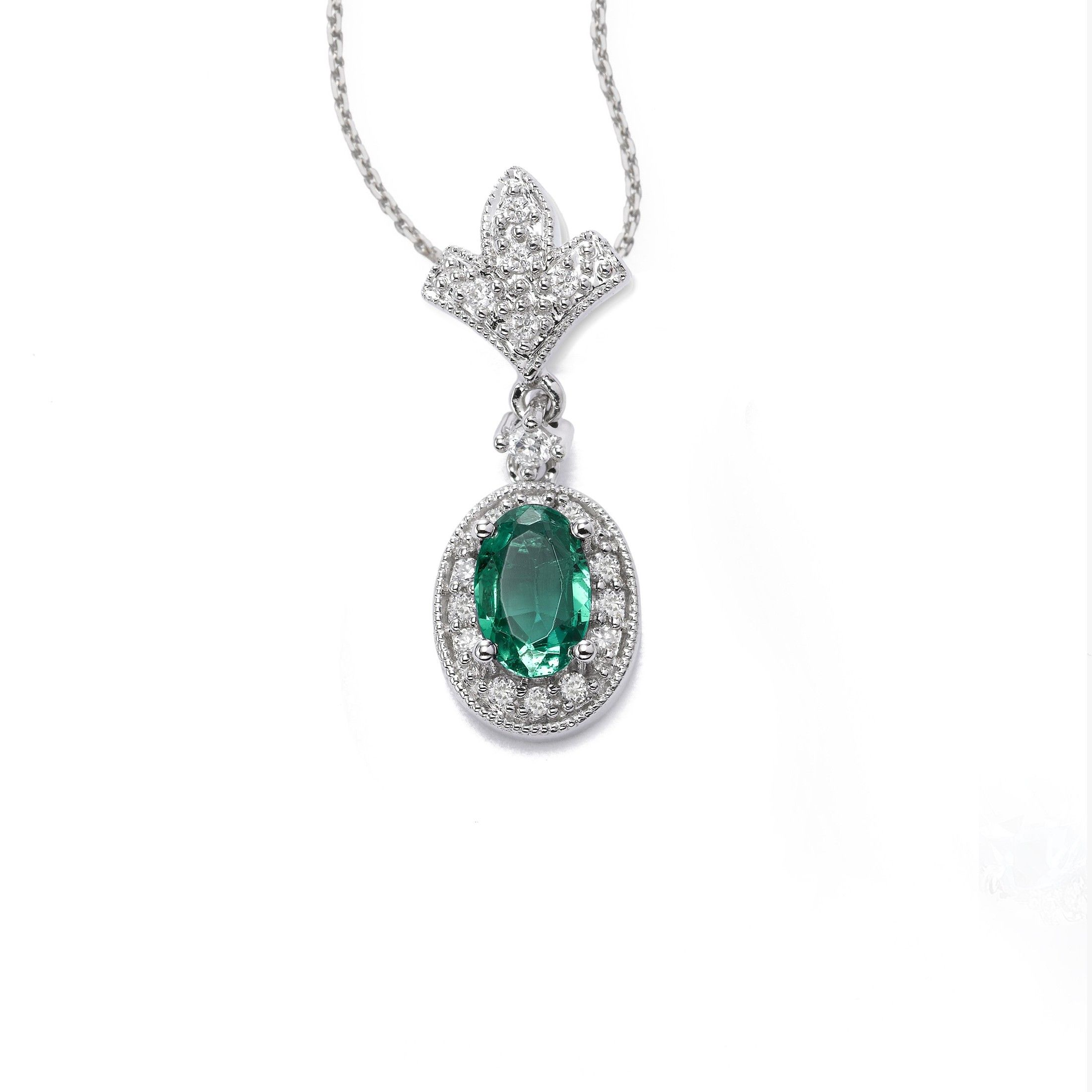 boutique stone double diamond halo emerald pendant and