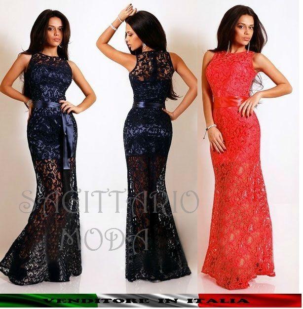 Maxi dress abito lungo PIZZO SIRENA sera Capodanno elegante BLU ROSSO  cerimonia 3a6c738466b