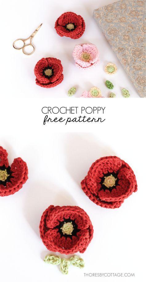Patron au crochet fleur de pavot – Patron au crochet gratuit par Thoresby Cottage   – DIY