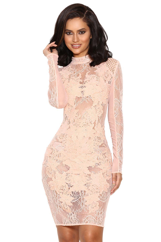 87ba3dc213b  Gialla  Peach Mesh and Lace Long Sleeved Dress.