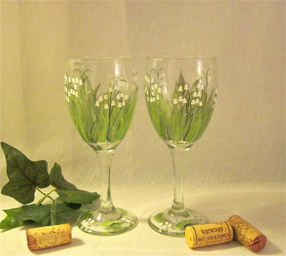 Lily of the Valley hand painted wine glasses set by DeannaBakale
