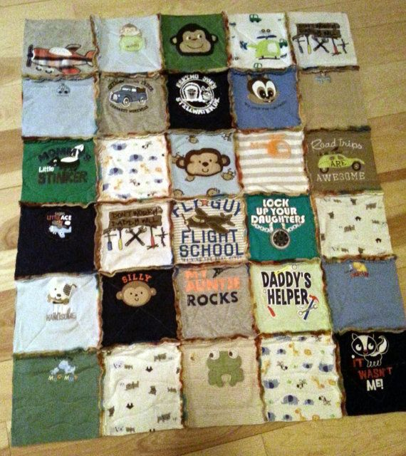 Baby Onesie Rag Quilt Custom Made To Order size 3' by by bebeRenee, $60.00
