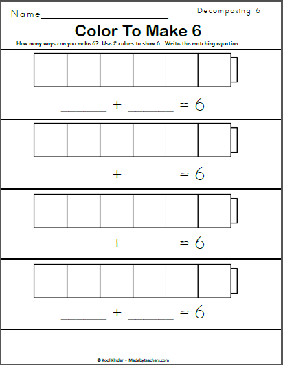 Color to Make 6 | Math addition worksheets, Math numbers, Math