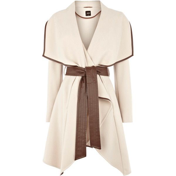 Cream Faux Leather Trim Belted Drape Coat ❤ liked on Polyvore