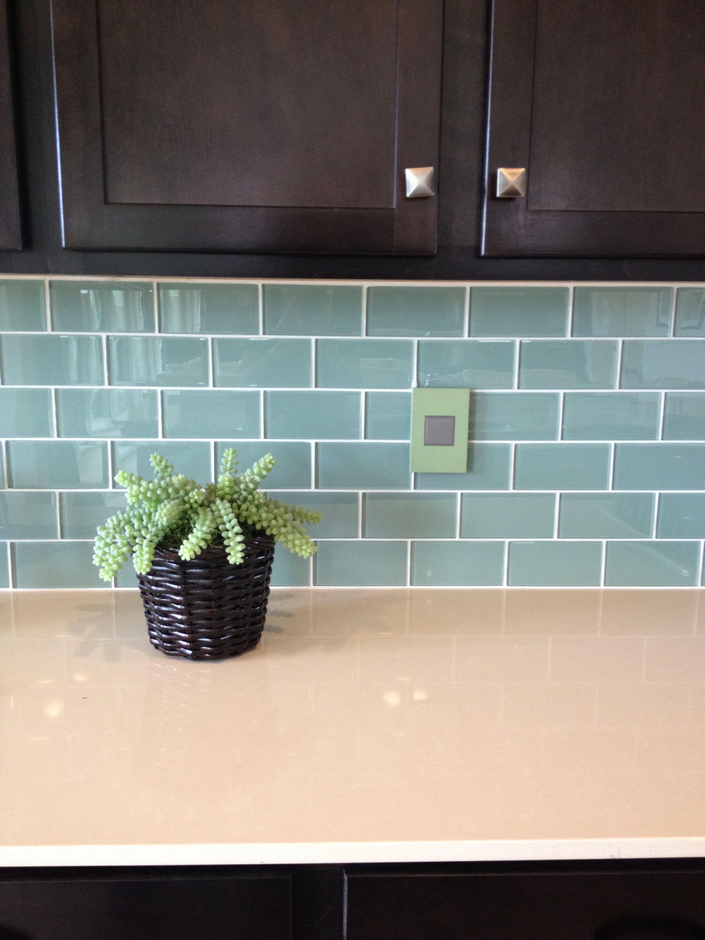 Blue-green Glass Subway Tile Backsplash