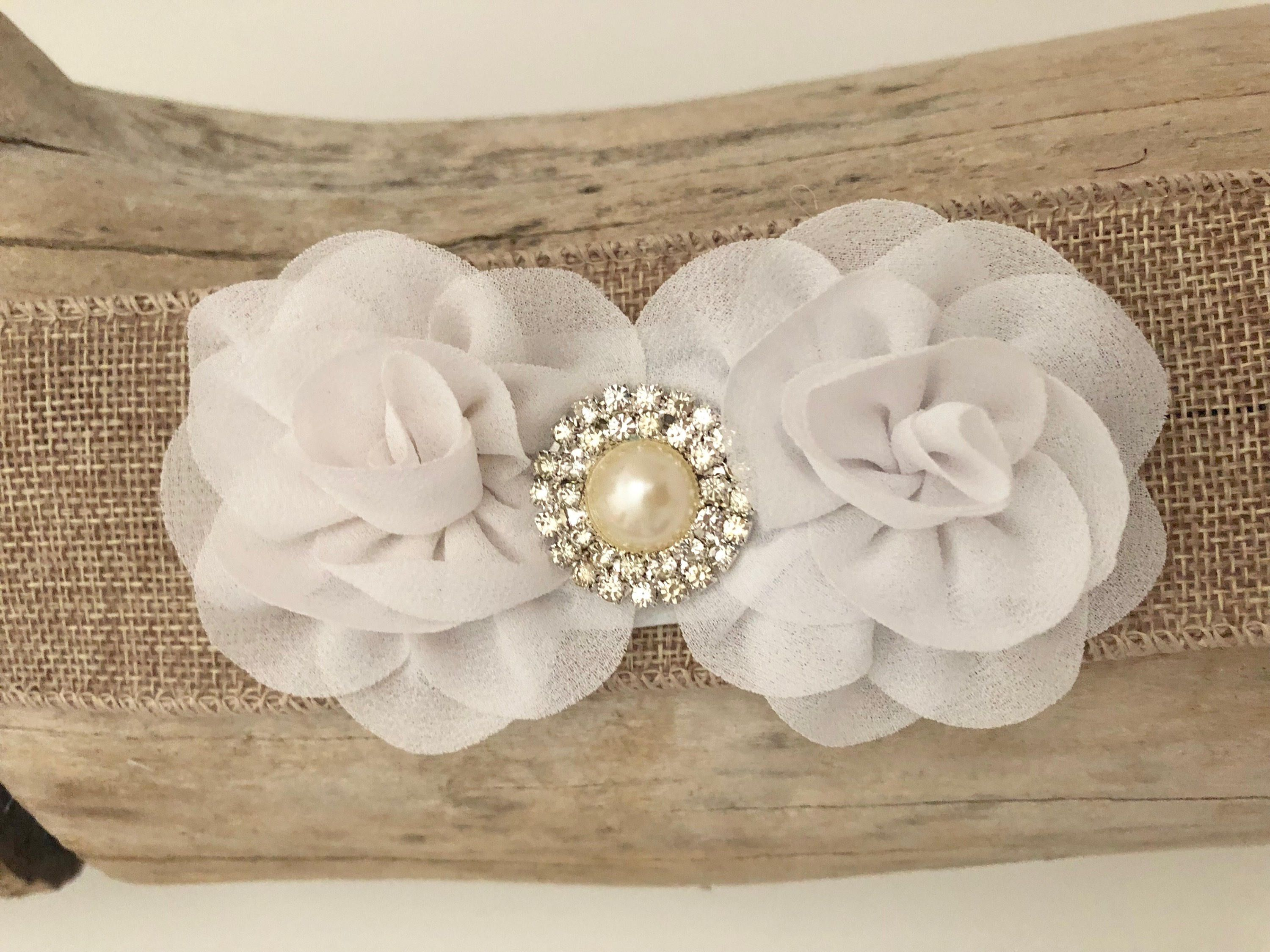 White Chiffon Hair Clip Ivory Mini Flower Hair Clip Feather Hair