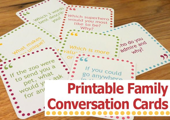 Printable Family Conversation Cards | Storytelling