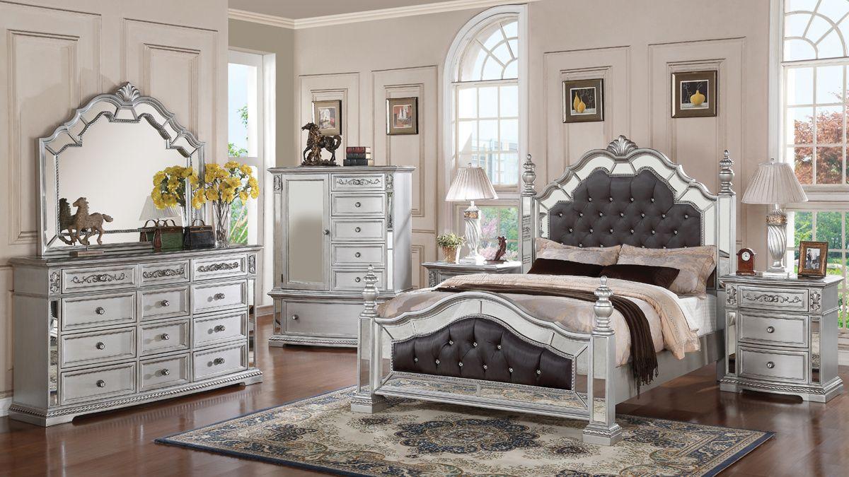 Pamela Silver Master Bedroom Set Bedroom Set Mirrored Bedroom Furniture Modern Bedroom Decor