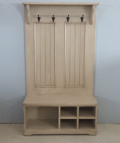 Hall Tree With Bench / Cubby Shoe Bench / by HarvestTreasuresInc