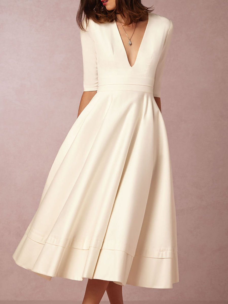 Schöne Kleider elegant fur hochzeit – Beliebte Modelle der Europäischen  Tipps. V neck Tea Length Wedding Dresses - StyleWe.com 2240b36788