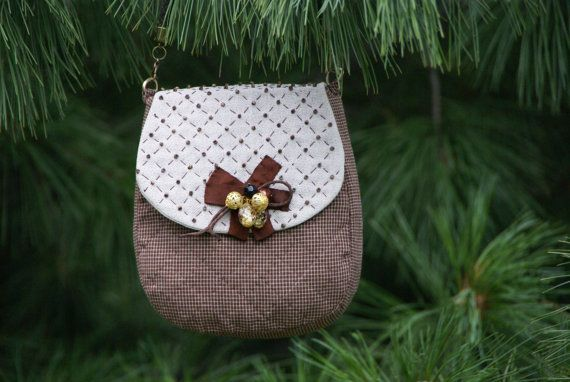 Bag small brown grey, with bow
