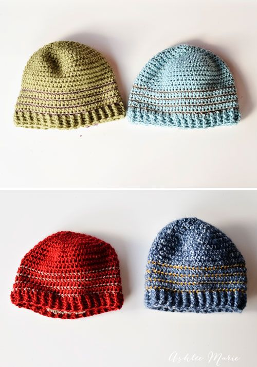 free pattern, multiple sizes striped crochet beanie | Crochet ...