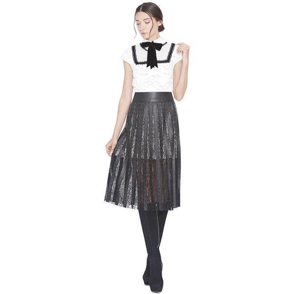 Alice + Olivia Tianna Midlength Skirt ($995) ❤ liked on Polyvore featuring skirts, knee length pleated skirt, studded skirts, mid length leather skirt, real leather skirt and pleated skirt