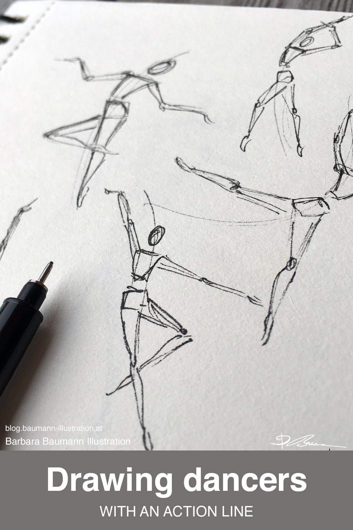 Elegant Dancers Drawn With Basic Shapes And An Action Line In Order To Create Movement And Strong Dynamic Dancer Drawing Gesture Drawing Poses Movement Drawing