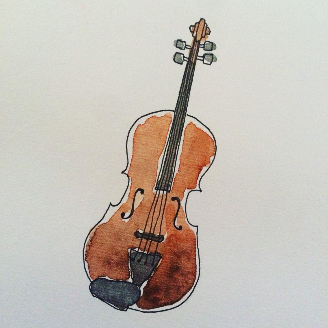 Violin Wallpaper: À�水彩画】バイオリン / Illust,violin,watercolor