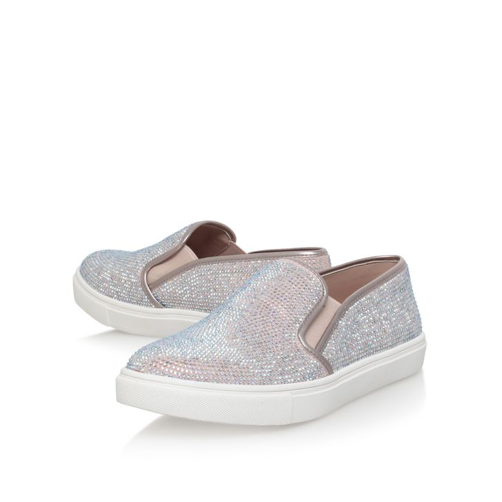 Jamie Nude Flat Low Top Trainers By Carvela