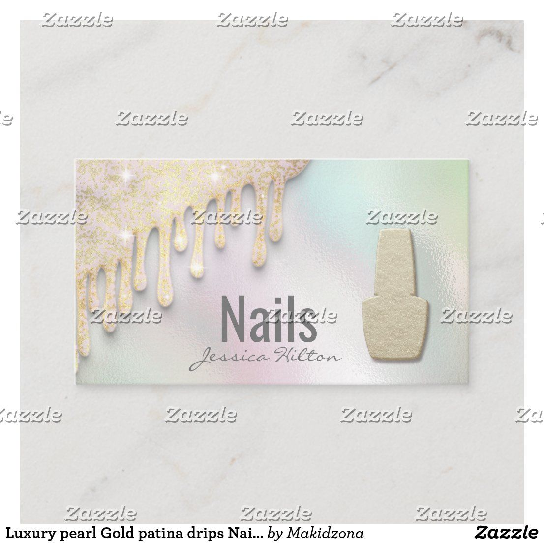 Luxury pearl Gold patina drips Nail salon Business Card