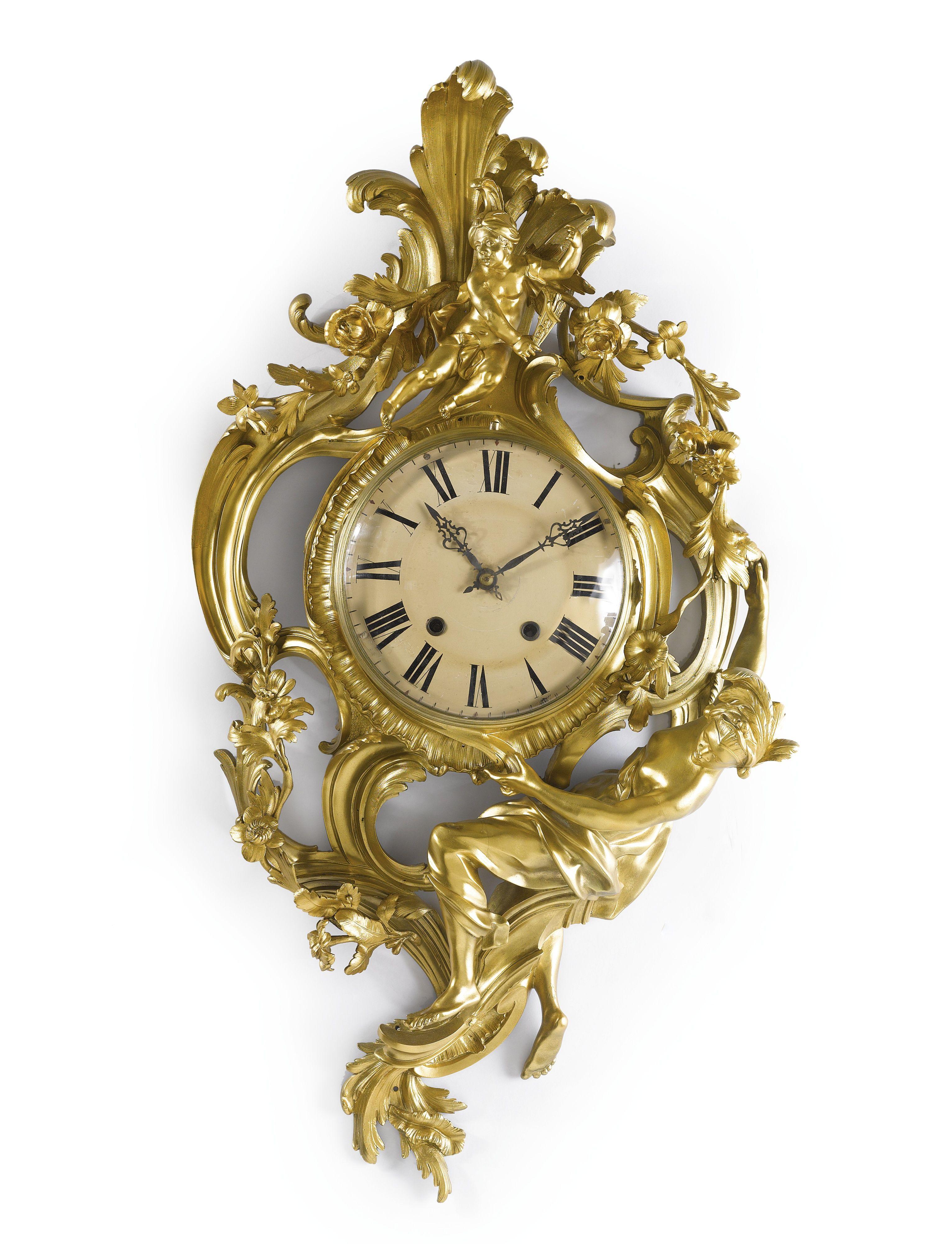 Wall Mounted Grandfather Clock A Louis Xv Style Gilt Bronze Wall Clock Paris 19th
