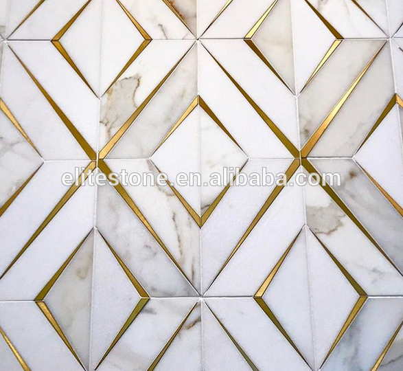 Classic Tile Flooring Brass Inlay With Marble Waterjet Mosaics Find Complete Details About