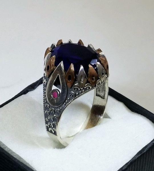Vintage Ringe -  20,9 mm Ring Silber 925 Saphir Rubin Bronze SR761 - ein Designerstück von Atelier-Regina bei DaWanda