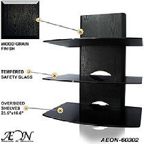 Component Shelf Mount With Wood Grain And Three Large Glass Shelves Aeon 60302 With Images Diy Tv Wall Mount Wall Mounted Tv Wall Mounted Shelves