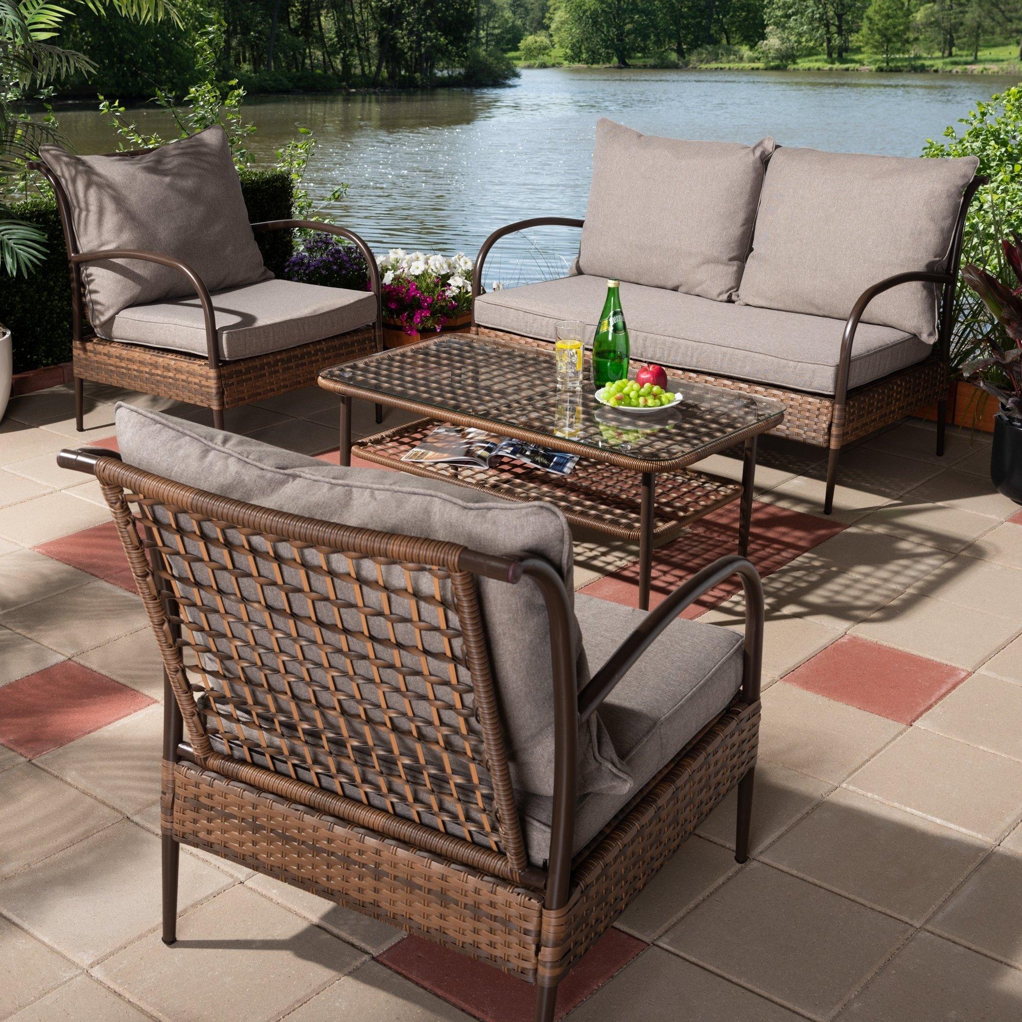 Contemporary 4 Piece Outdoor Patio Lounge Set By Baxton Studio