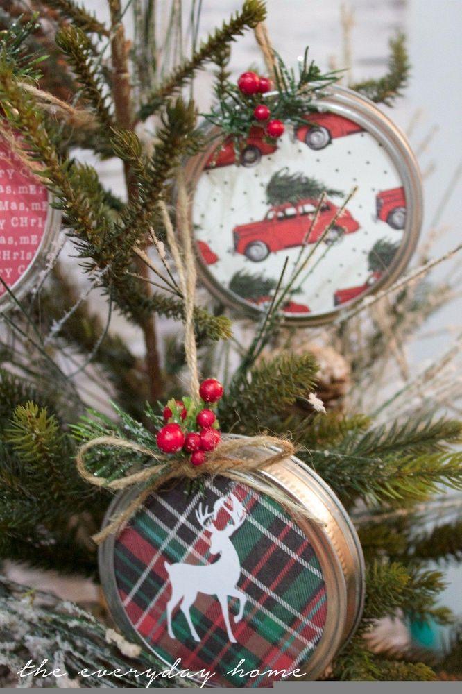 Diy Country Christmas Tree Decorations : Diy mason jar lid christmas ornaments ornament