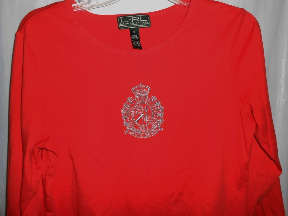 LAUREN ACTIVE RALPH LAUREN Women Sz M -L/S T-Shirt Orange Gold Embroider Crest #RalphLauren #EmbellishedTee