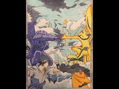 Drawing Naruto Vs Sasuke Final Fight Youtube Arte Manga