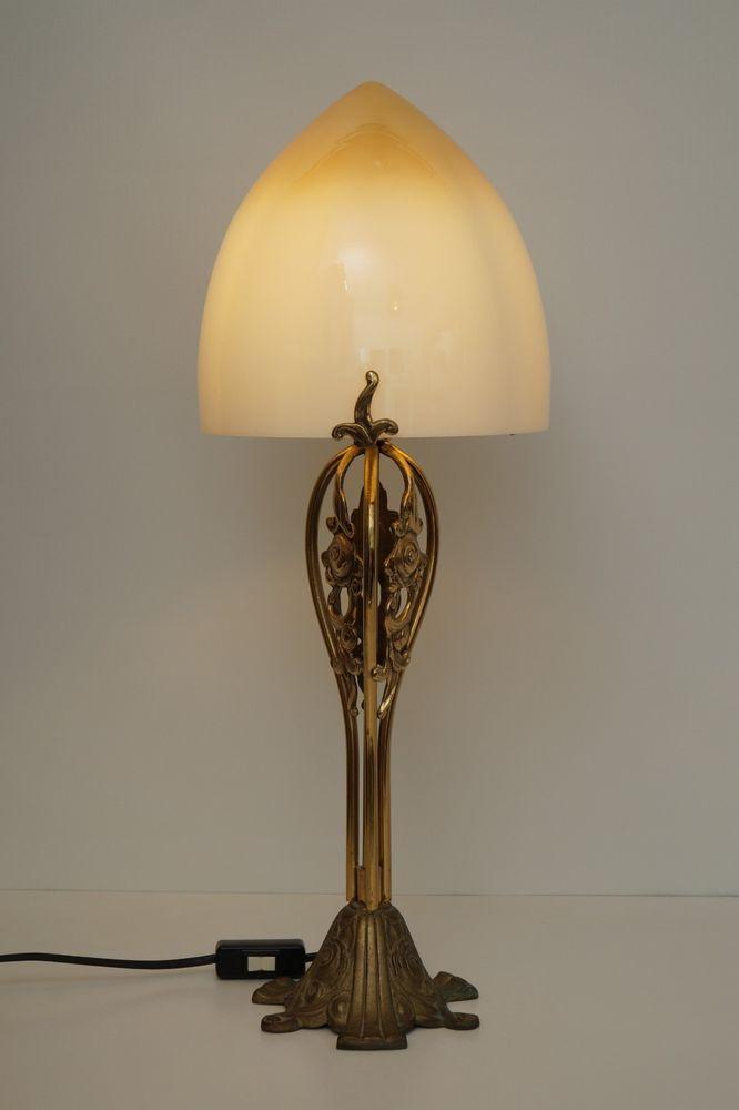 Einzigartige Jugendstil Designer Tischleuchte Messing Tischlampe Opalglas   Lampe, Tischlampen ...