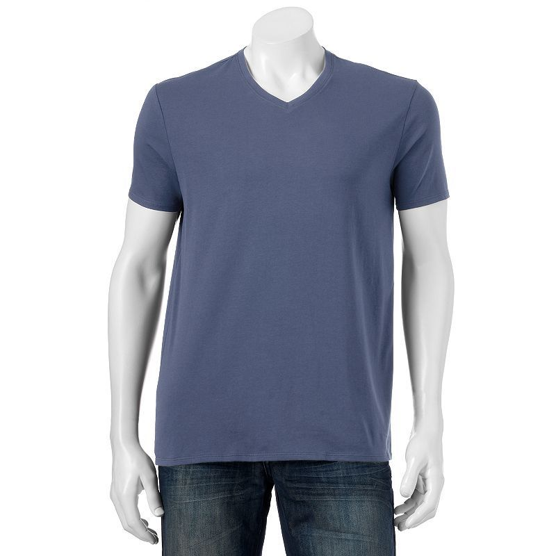 Men's Apt. 9 Solid V-neck Tee, Size: Medium, Dark Blue