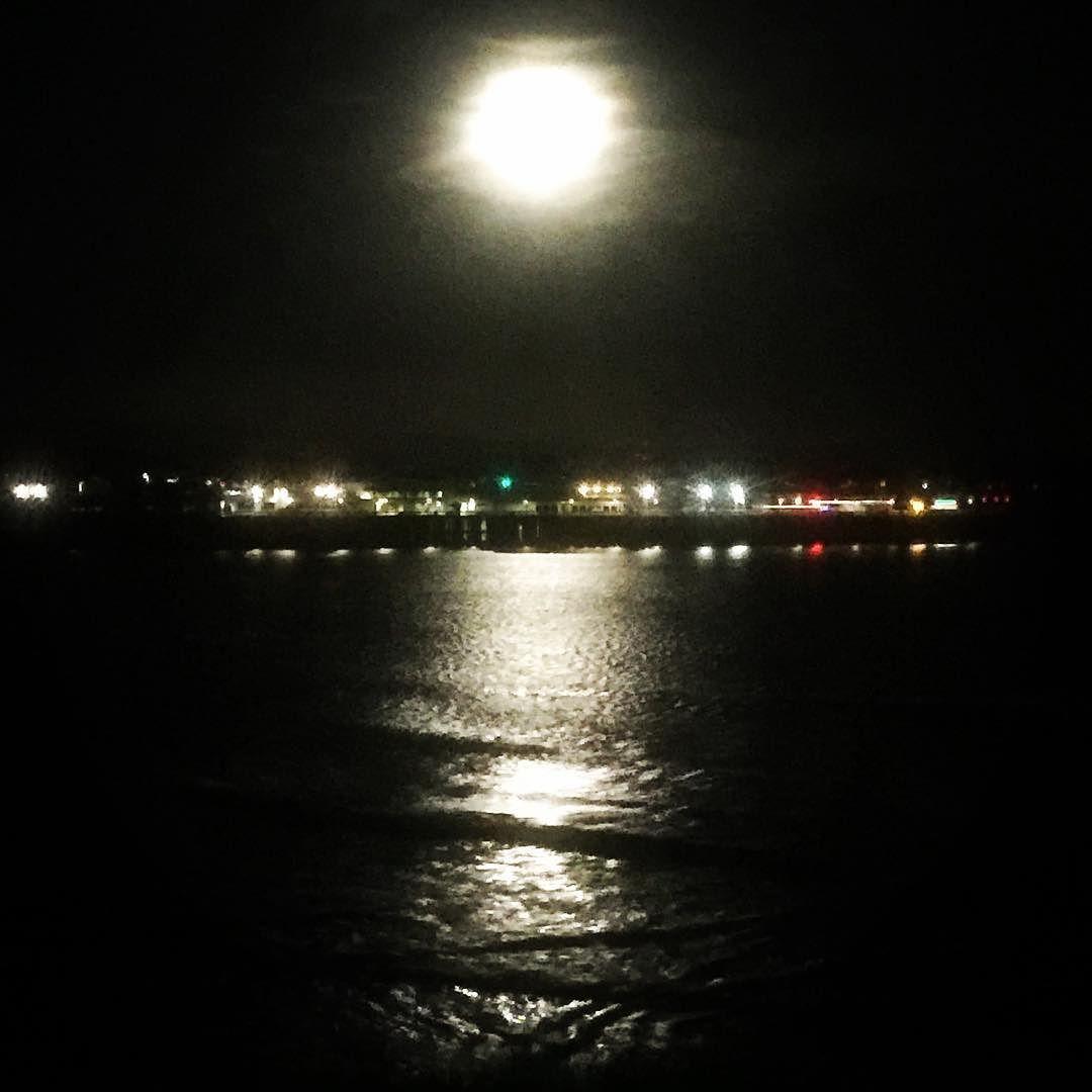Santa Cruz CA: Werewolves moon over Santa Cruz wharf #hoooowwl by pappyisarollingstone