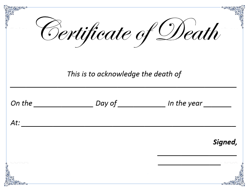 death certificate templates