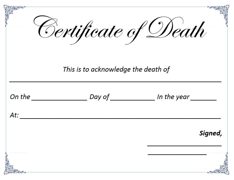 Fake Death Certificate Template Erieairfair
