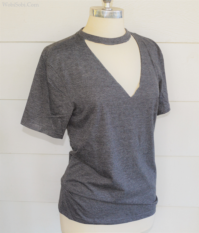 ba7ae0c45df3 I have seen These Choker tee's everywhere, and I love how flattering they  are. Such and easy no sew DIY, that you could make one.