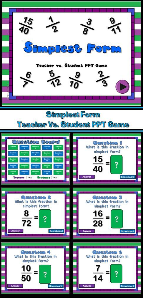 Teacher vs. Student Simplest Form PPT Game   Slideshow, 25! and ...