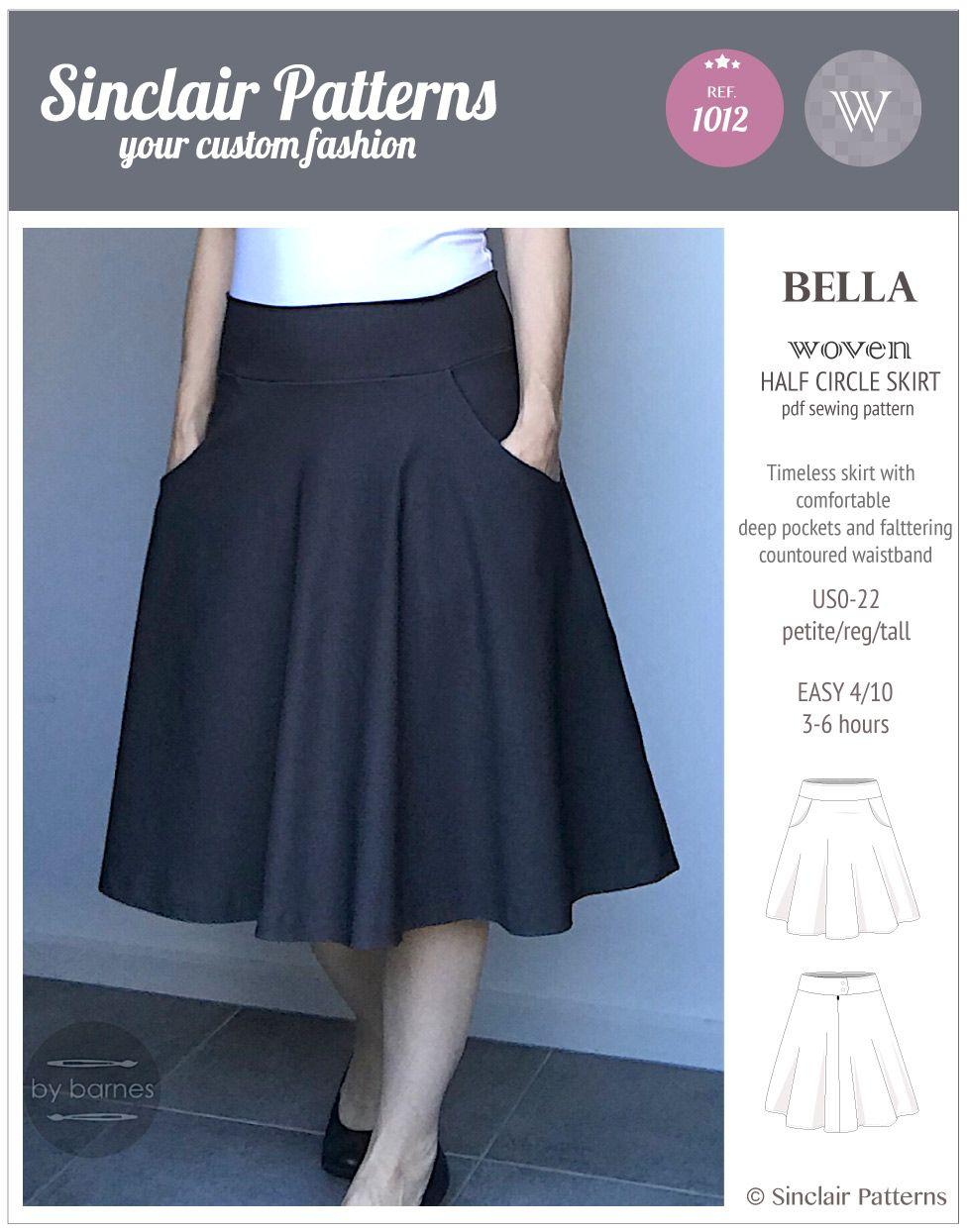 Sinclair Patterns S1012 Bella Woven Half Circle Skirt Pdf Sewing Pattern Skirt Patterns Sewing Circle Skirt Pattern Circle Skirt Outfits