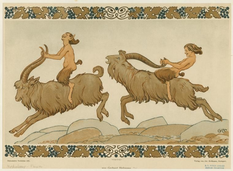 Fauns riding goats. From New York Public Library Digital Collections.