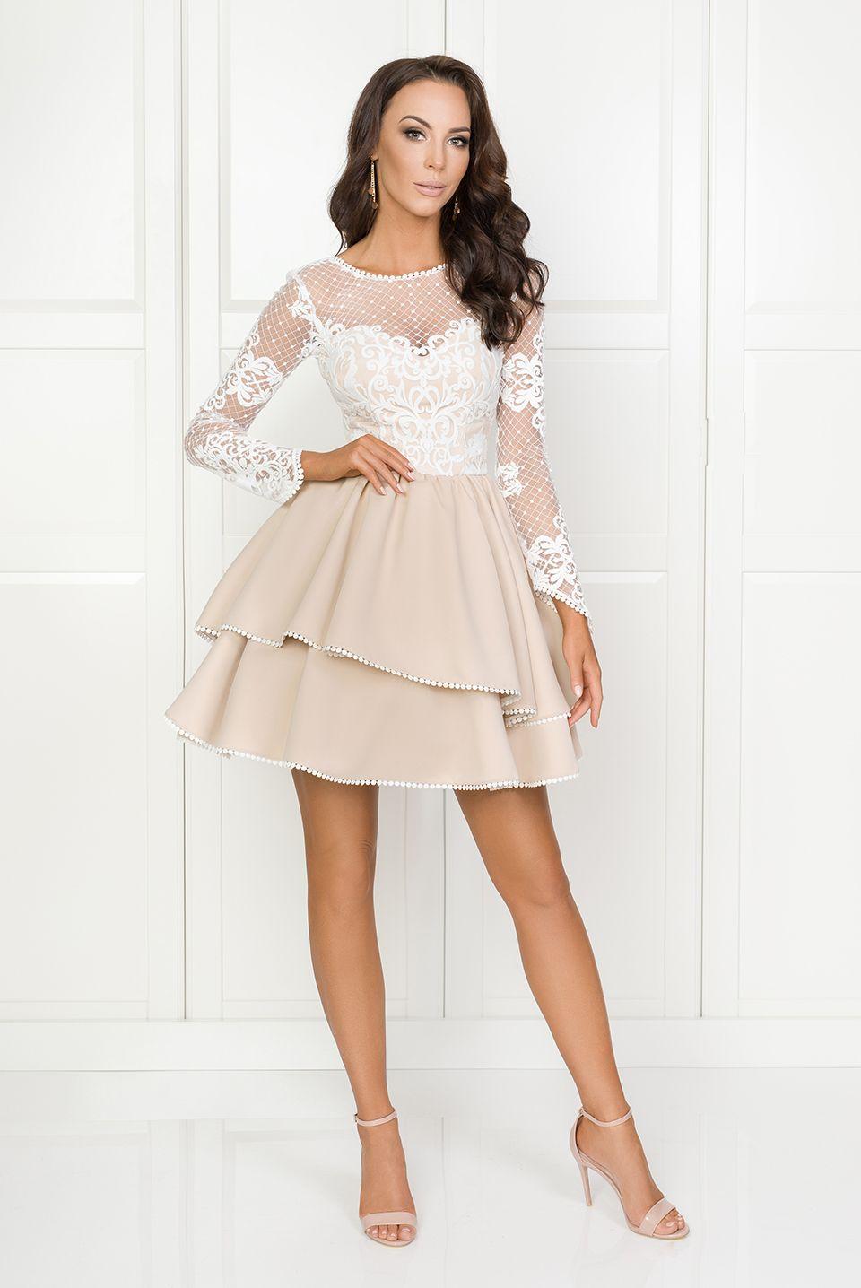 af4ee4728a Illuminate.pl Amelia - Rozkloszowana sukienka z beżowym dołem