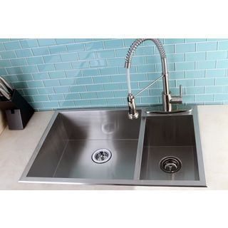 Topmount 33 Inch Double Bowl Stainless Steel Kitchen Sink Shop Stainless Steel Kitchen Sink
