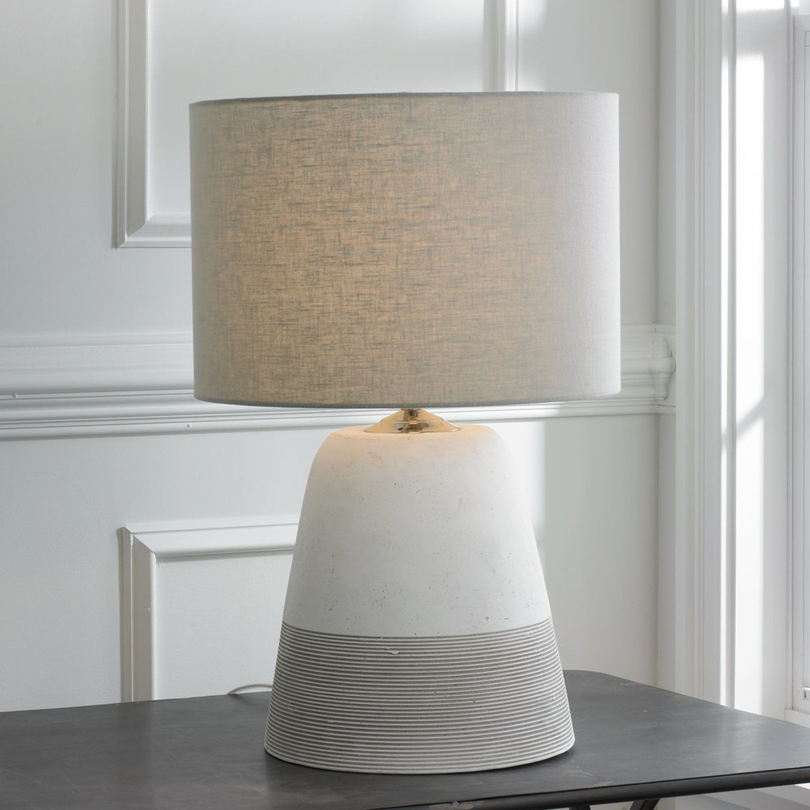 Grooved concrete table lamp small products results and lamps grooved concrete table lamp small geotapseo Choice Image