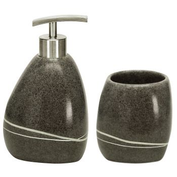 Gorgeous Smooth Stone Bathroom Accessories Set This Polyresin