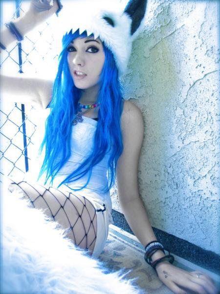 Bright Blue Hair Wavy Long Cute Scene Girl Monster Hat
