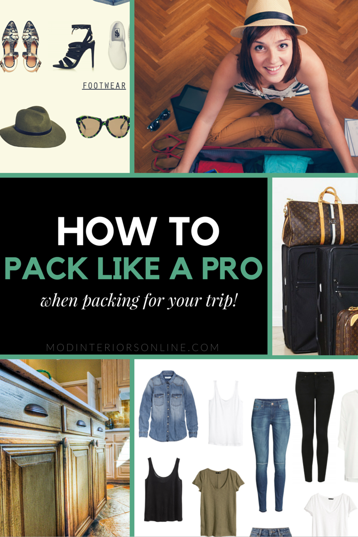 Great tips on how to pack like a pro.  if the sight of a luggage sends you into a panic attack, fear not: these tried-and-true tips from how to pack your luggage to what to do before leaving your home. modinteriorsonline.com #packlikeapro #traveling #modinteriorsonline.com #howtopack