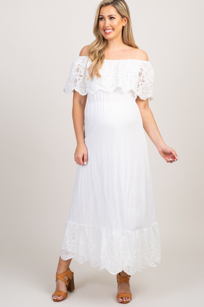 8ca5e67e66aa White Eyelet Off Shoulder Maternity Maxi Dress in 2019 | Hair ...